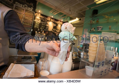 An ice cream cone, at Morenko's ice cream parlor in Silver Spring, Maryland. - Stock Photo