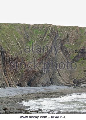 Great Britain, England, Devon, rocky coast at Hartland Quay - Stock Photo
