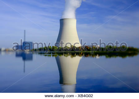Atomkraftwerk Ohu bei Landshut, Bayern, Deutschland, Nuclear power plant Ohu near Landshut, Bavaria, Germany, Nuclear, Power, Pl - Stock Photo