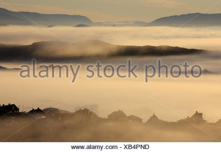 Greenland, Disco Bay, Ilulissat, fjord, fog, timber houses, view, Western Greenland, shore, coast, outside, deserted, water, sea, the Arctic, ice, icebergs, drift ice, midnight sun, houses, foggy, - Stock Photo