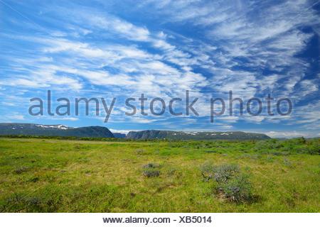 Clouds at Western Brook Pond Gros Morne National Park Newfoundland & Labrador Canada - Stock Photo