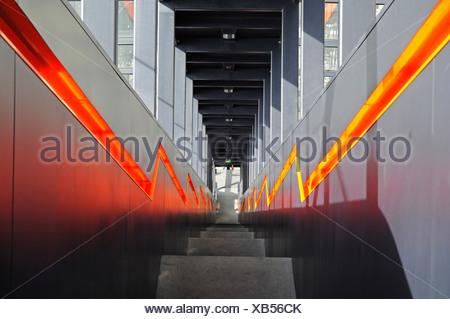Steep stairs, steps, escalator, Zeche Zollverein, Zollverein Coal Mine Industrial Complex, Essen, North Rhine-Westphalia - Stock Photo