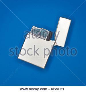 Silver Cigarette Lighter, elevated view - Stock Photo