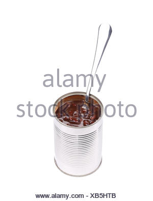 Tin of red bean with spoon. - Stock Photo