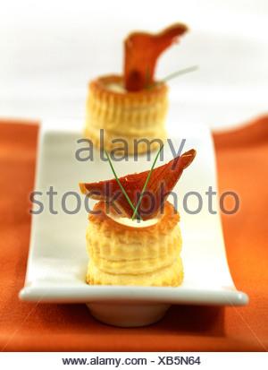 Salmon vol-au-vent and pureed almonds - Stock Photo