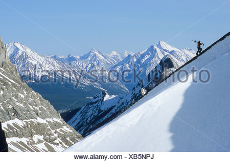 young man backcountry skiing Haig Glacier, Kananaskis, Alberta, Canada. - Stock Photo