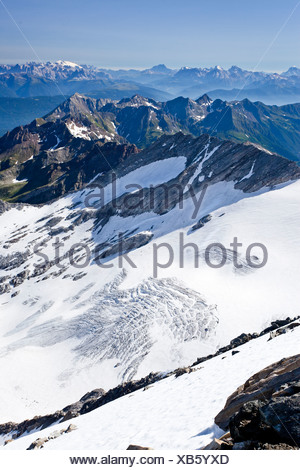 View from Hochfeiler mountain, Pfitschertal valley, Eisack valley, Wipptal valley and the Dolomites at the back - Stock Photo