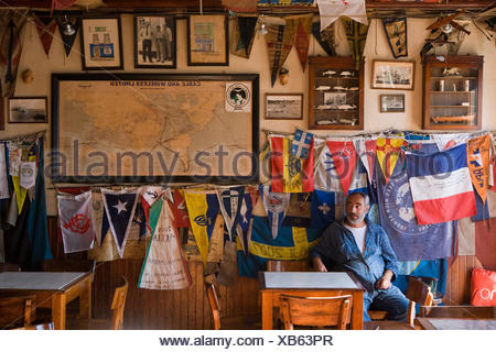 Interior of Peter Cafe Sport, a legendary yacht crew bar in the middle of the Atlantic Ocean, Horta, Faial Island, Azores, Portu - Stock Photo