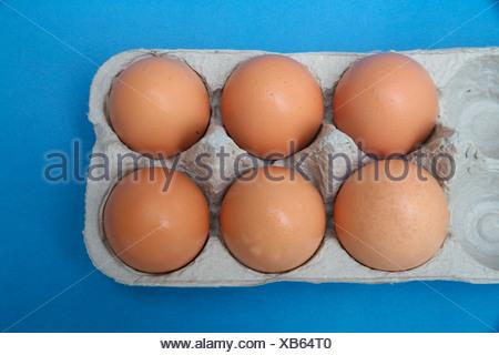Brown eggs in carton, overhead view - Stock Photo