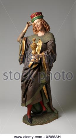Balthasar of the Three Kings from an Adoration Group. Date: before 1489; Geography: Made in Swabia, Germany; Culture: German; Medium: Poplar, paint - Stock Photo