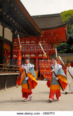 Beginning of the procession from the Shimogamo to the Mikage shrine at Mt. Mikage, west of the Hie Mountain, Kyoto, Japan, Asia - Stock Photo