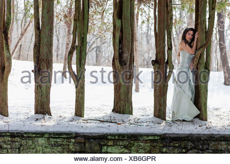 A woman in a ball gown outdoors in the snow. - Stock Photo