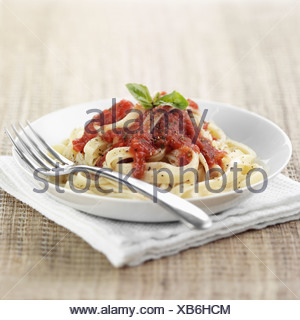 Tomato and Basil Tagliatelle - Stock Photo