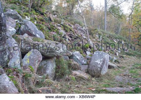 Sea of Rocks, Baden-Wuerttemberg, Odenwald, Koenigstuhl, Heidelberg, Rhine-Neckar area, Electoral Palatinate, Germany - Stock Photo