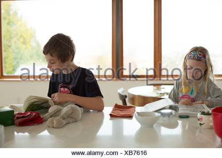 Boy and girl sitting at table reading - Stock Photo