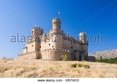 Spain Europe region area Madrid castle Manzanares El Real castle arrangement fortress Middle Ages - Stock Photo