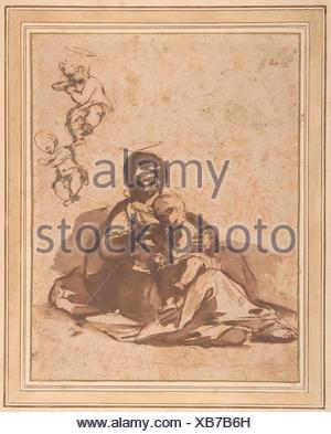 Studies for a Rest on the Flight into Egypt. Artist: Rutilio Manetti (Italian, Siena 1570-1639 Siena); Date: 1571-1639; Medium: Pen and brown ink, - Stock Photo
