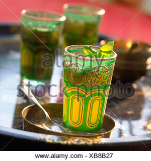 Mint tea on a tray - Stock Photo