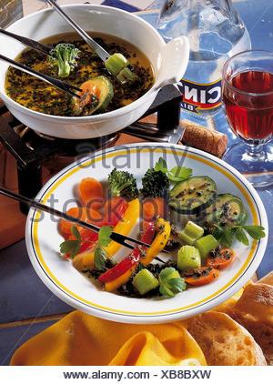 Bagna cauda, Italy, recipe available for a fee - Stock Photo