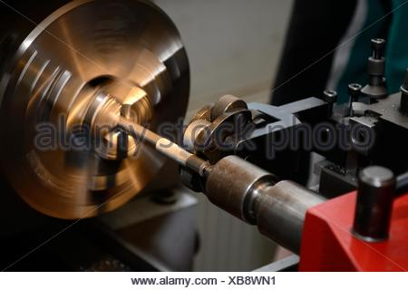 metal working lathe - Stock Photo