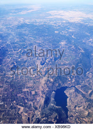 Nevada, United States of America Lake And Agriculture From Above - Stock Photo