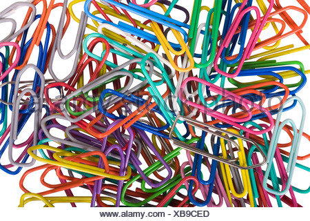 Close-up of assorted paper clips - Stock Photo