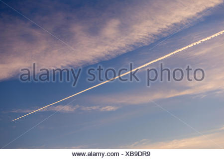 Low angle view of vapor trail in sky - Stock Photo