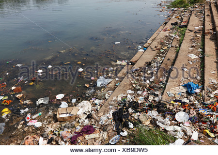 Garbage, dirty riverbank, Kapila, Kabini, Kabbani River, Nanjangud, Karnataka, South India, India, South Asia, Asia - Stock Photo