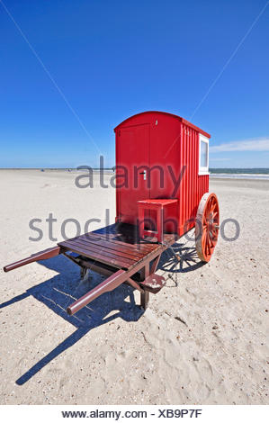 red cart on the beach, Germany, Lower Saxony - Stock Photo