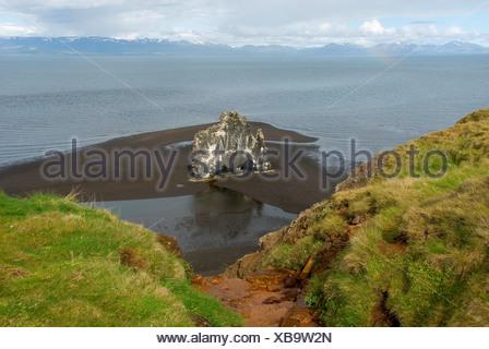 bird rock Hvitserkur on Vatnsnes peninsula, Iceland - Stock Photo
