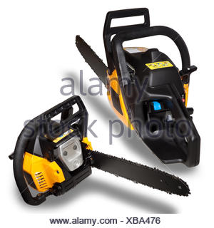 Two Chainsaw isolated - Stock Photo