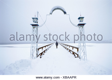 Jetty covered in snow, Sweden. - Stock Photo