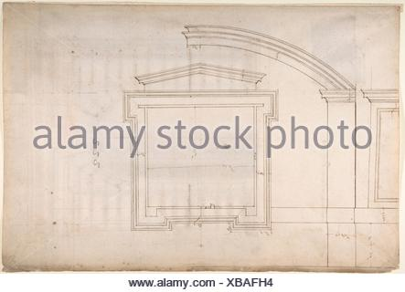 St. Peter´s, apse, window, elevation (recto) Unidentified, portal, elevation (verso). Draftsman: Drawn by Anonymous, French, 16th century; Artist: - Stock Photo