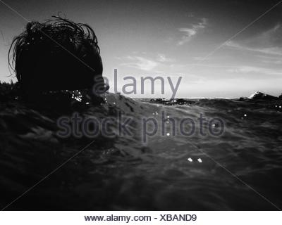Surface Level Of Person In Sea - Stock Photo