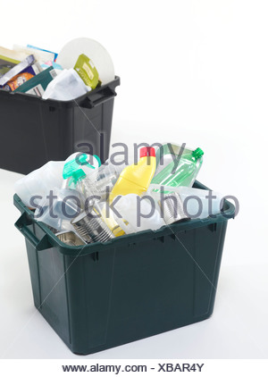 Household recycling boxes - Stock Photo