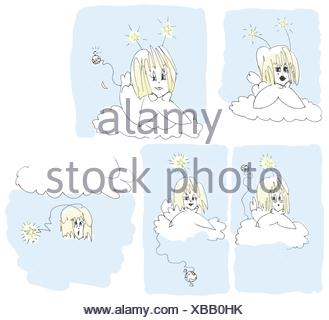 Five angels, original ink sketch cartoon colorized. Angels with attitude. - Stock Photo