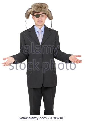 One-eyed man in Russian fur hat on white - Stock Photo