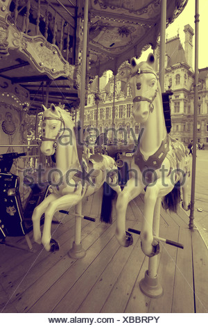 French carousel horse ride in vintage style - Stock Photo