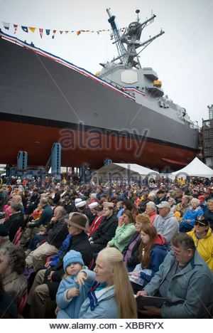 Onlookers at christening ceremony of a new US Navy ship in Bath Maine. - Stock Photo