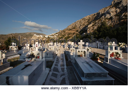 Cemetery of Menetes, Karpathos, Aegean Islands, Aegean Sea, Greece, Europe - Stock Photo