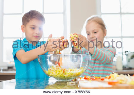 Brother and sister preparing salad in kitchen - Stock Photo