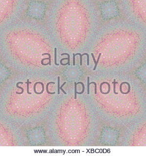 Abstract geometric seamless background. Floral concentric regular ellipses pattern in pastel shades in pink, violet, purple, blue and green, delicate and dreamy. - Stock Photo