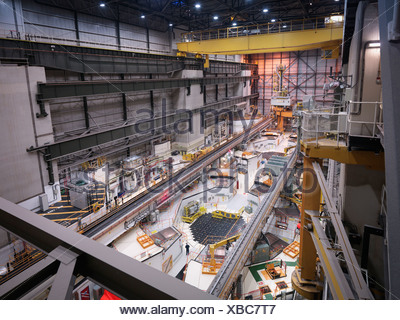 Reactor hall in nuclear power station, high angle view - Stock Photo