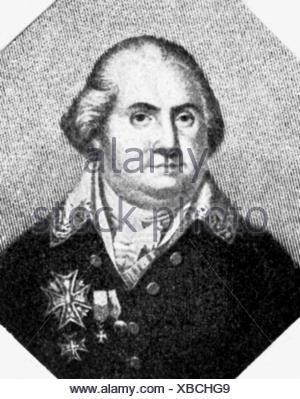 Louis XVIII, 17.11.1755 - 16.9.1824, King of France 2.4.1814 - 16.9.1824, portrait, wood engraving, 19th century, - Stock Photo
