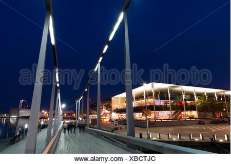 The Rambla de Mar footbridge, in Port Vell, at night. - Stock Photo