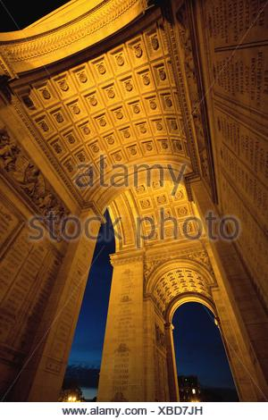 Arc de triomphe in Paris, France, Europe - Stock Photo