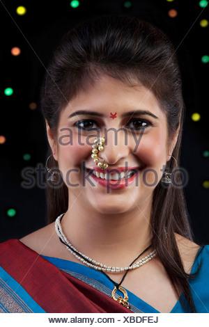Maharashtrian woman smiling - Stock Photo