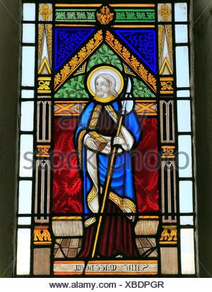 St. Matthew, stained glass window by Joseph Grant of Costessey c. 1856, Wighton, Norfolk, England UK saint saints - Stock Photo