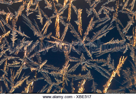 Frost on window with outside temperature of minus 40 degees Farenheit Manitoba Canada - Stock Photo