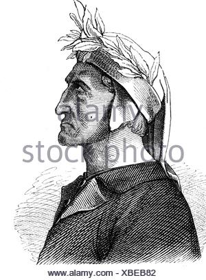 Dante Alighieri, 1265 - 14.9.1321, Italian author / writer, portrait, wood engraving, 19th century, Additional-Rights-Clearances-NA - Stock Photo